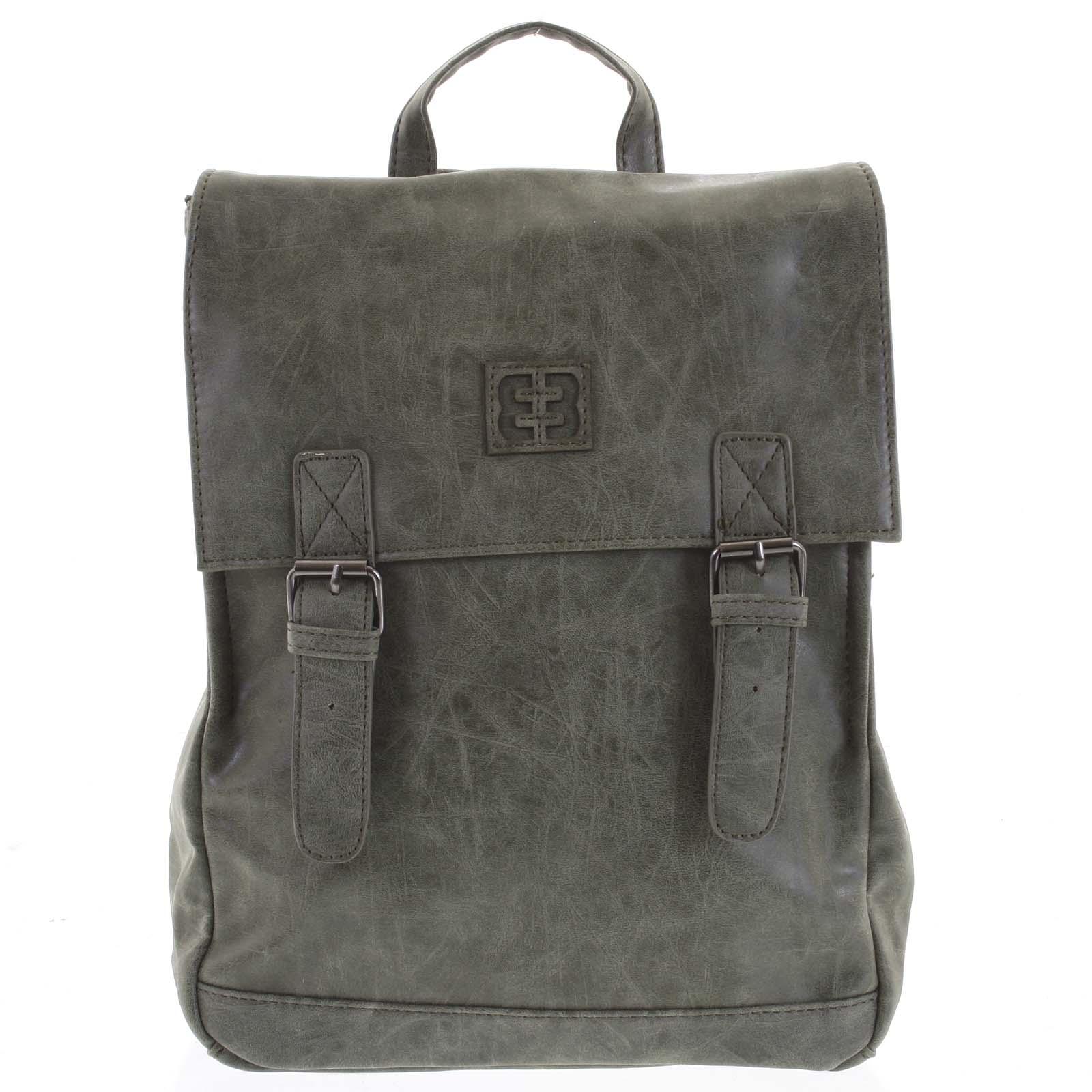 Módní stylový střední batoh olivově zelený - Enrico Benetti Traverz