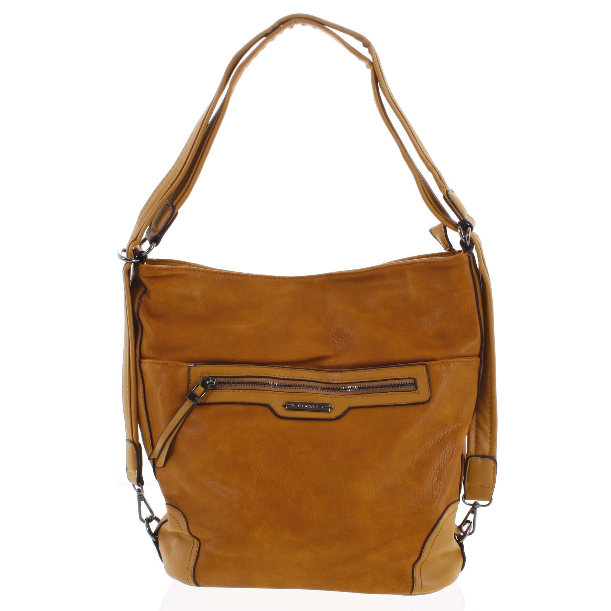 Dámská kabelka batoh tmavě žlutá - Romina Zilla