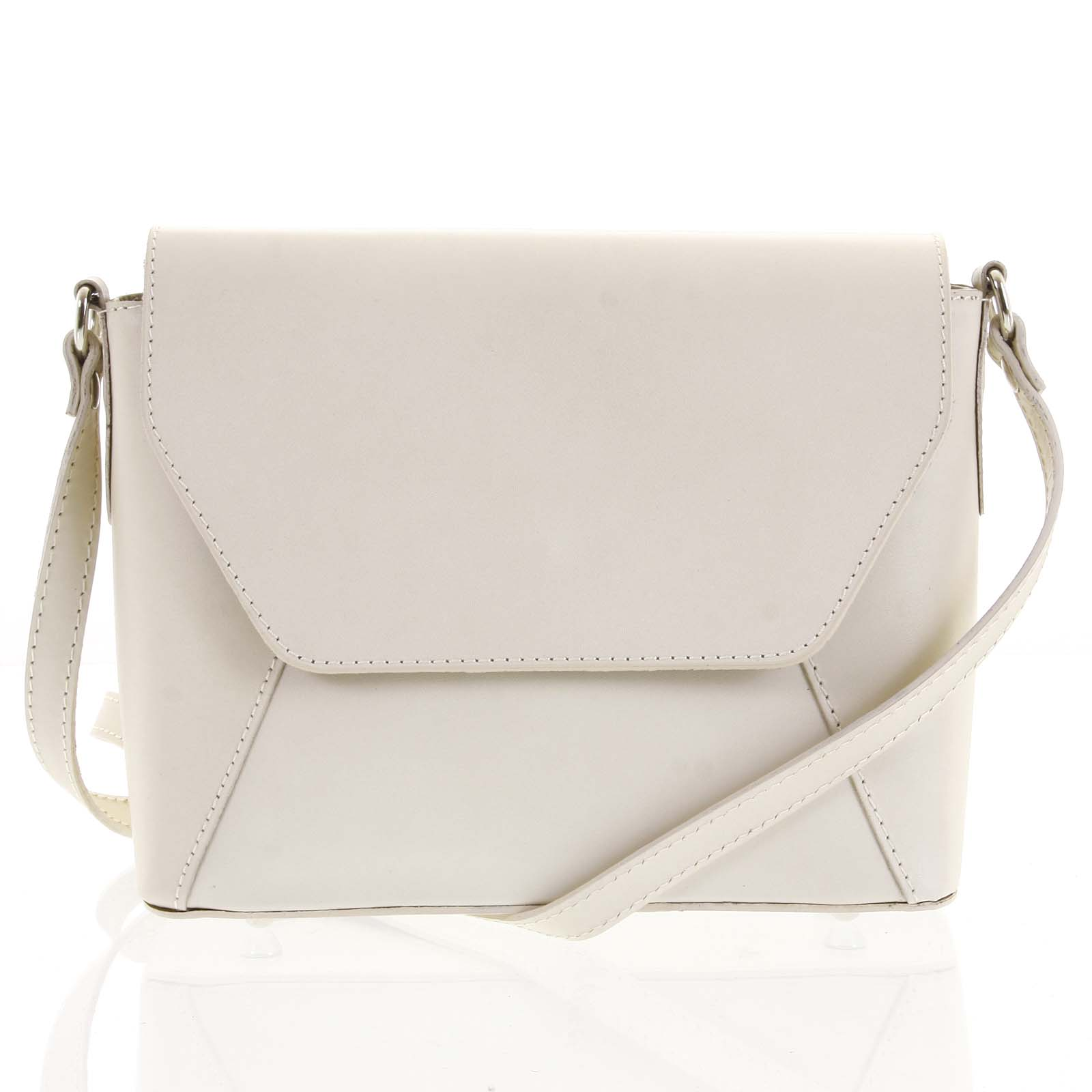 Béžová dámská kožená crossbody kabelka - ItalY Dunya Two