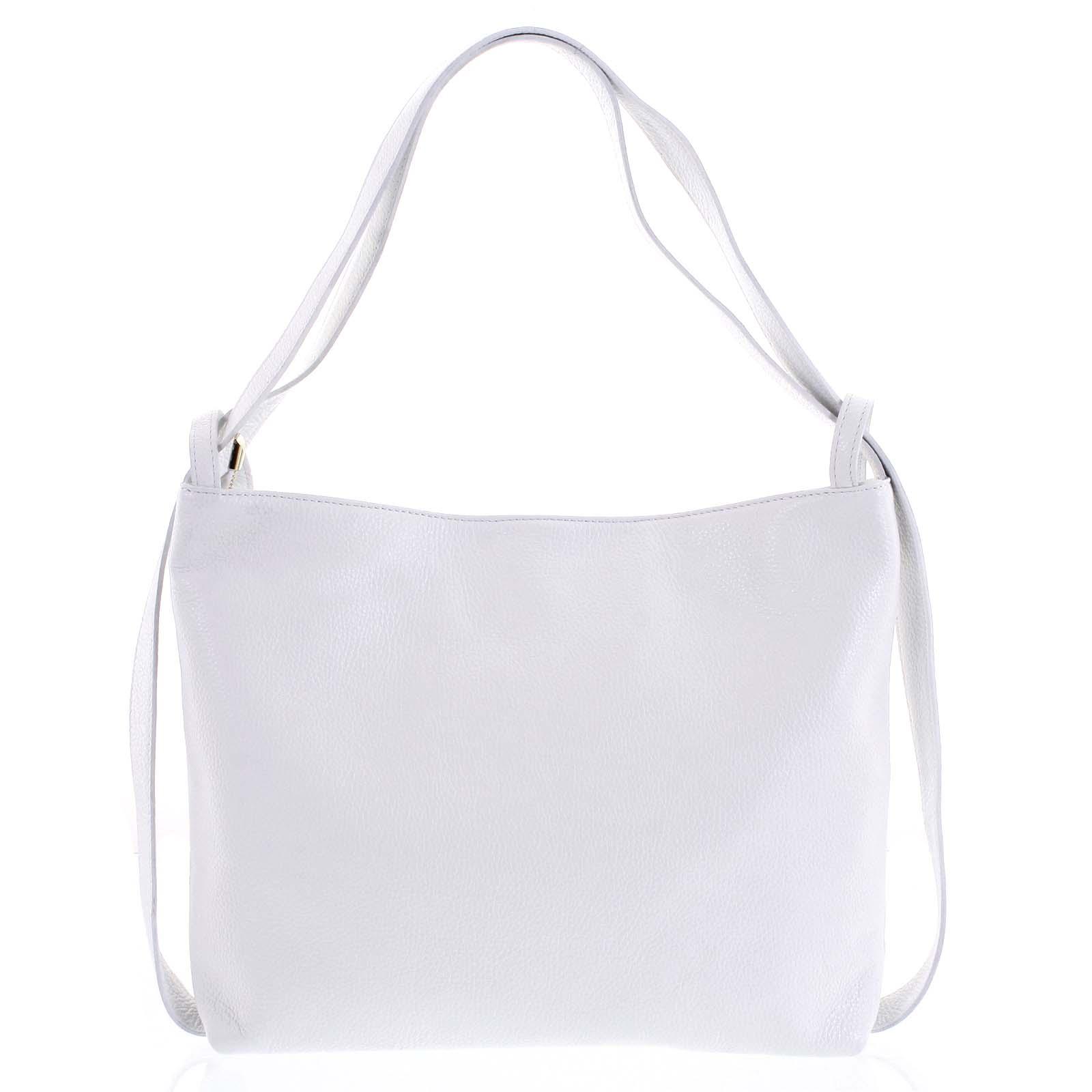 Módní bílá kožená kabelka batoh přes rameno - ItalY Nympha