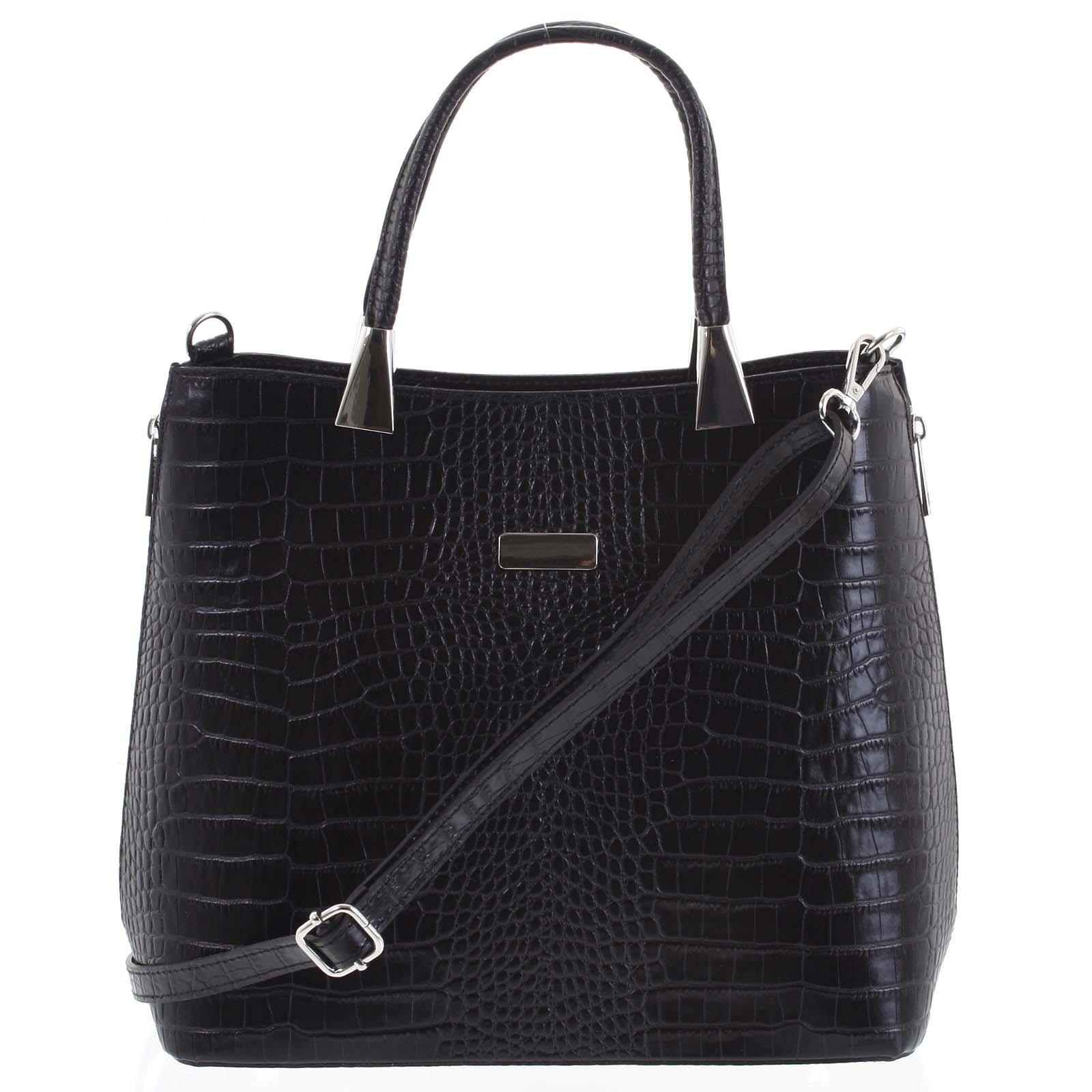 Luxusní dámská kožená kabelka černá - ItalY Marion