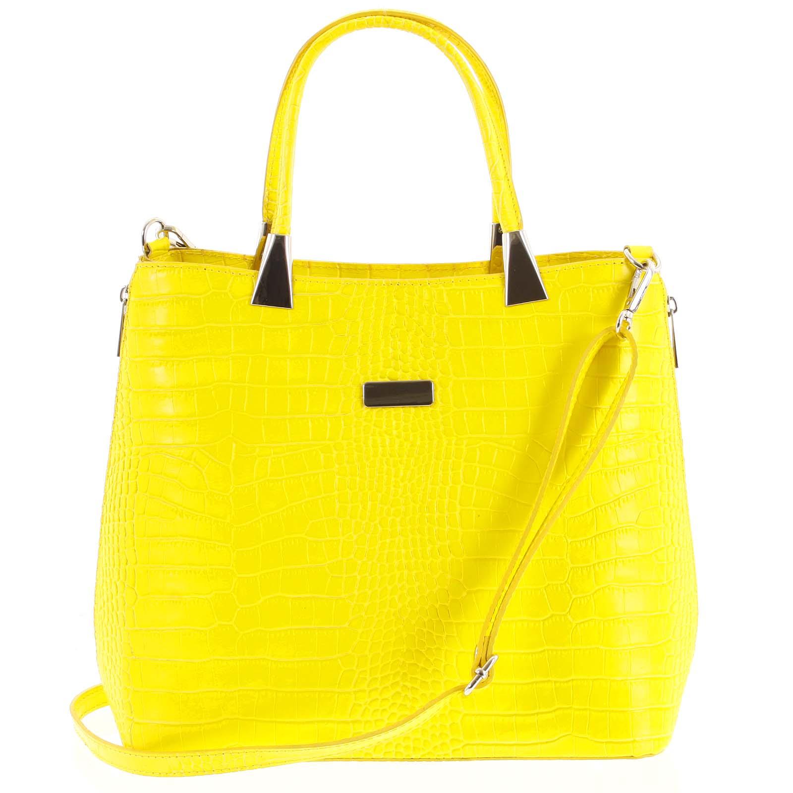 Luxusní dámská kožená kabelka žlutá - ItalY Marion