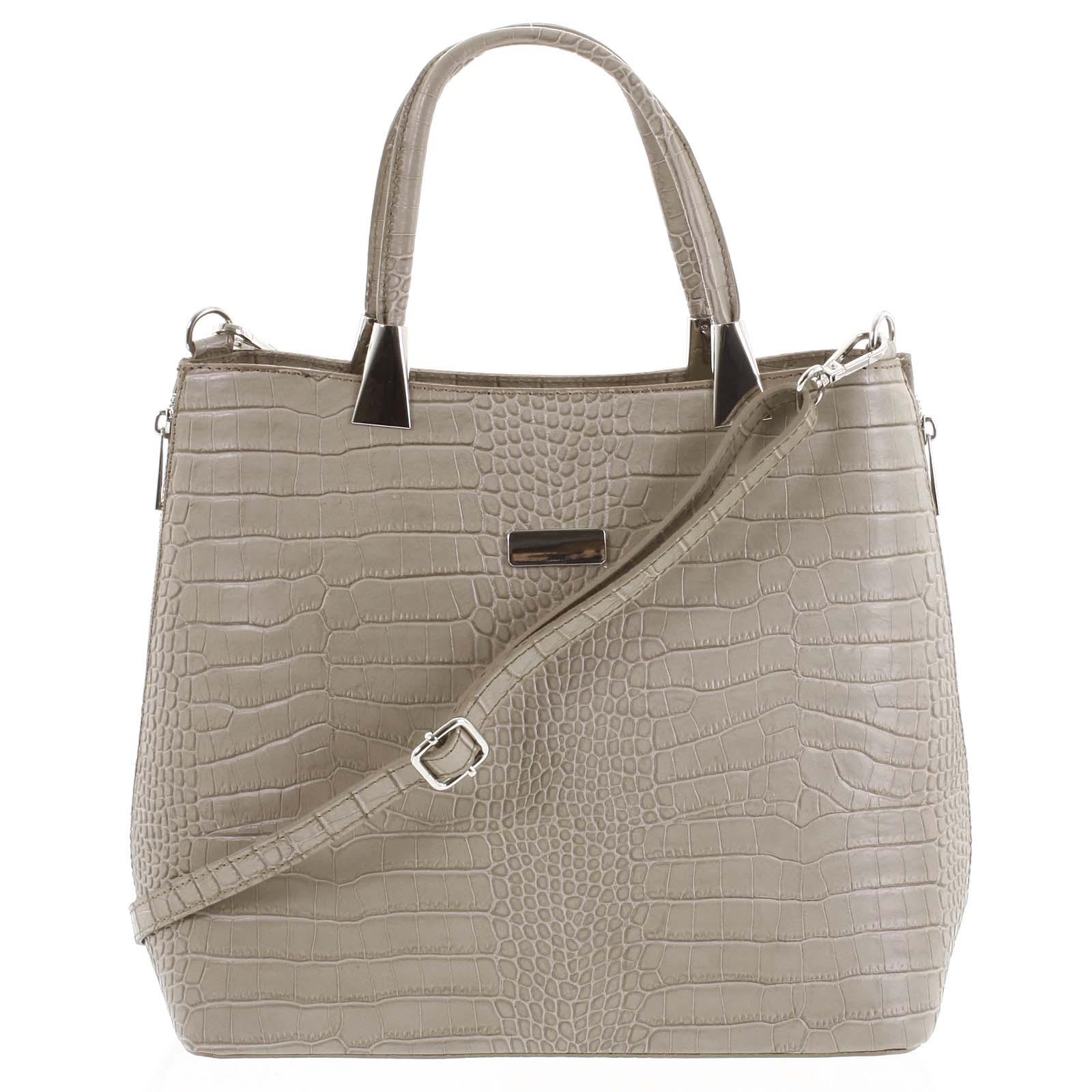Luxusní dámská kožená kabelka taupe - ItalY Marion
