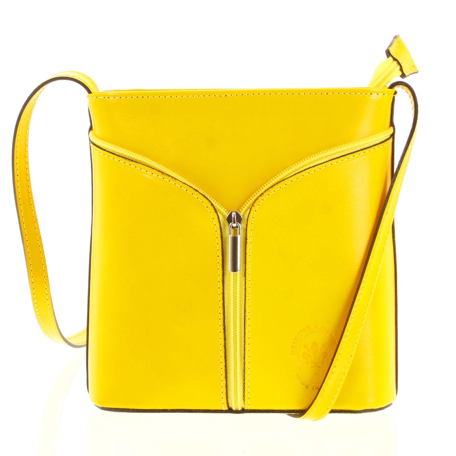 Dámská kožená crossbody kabelka žlutá - ItalY Hallie