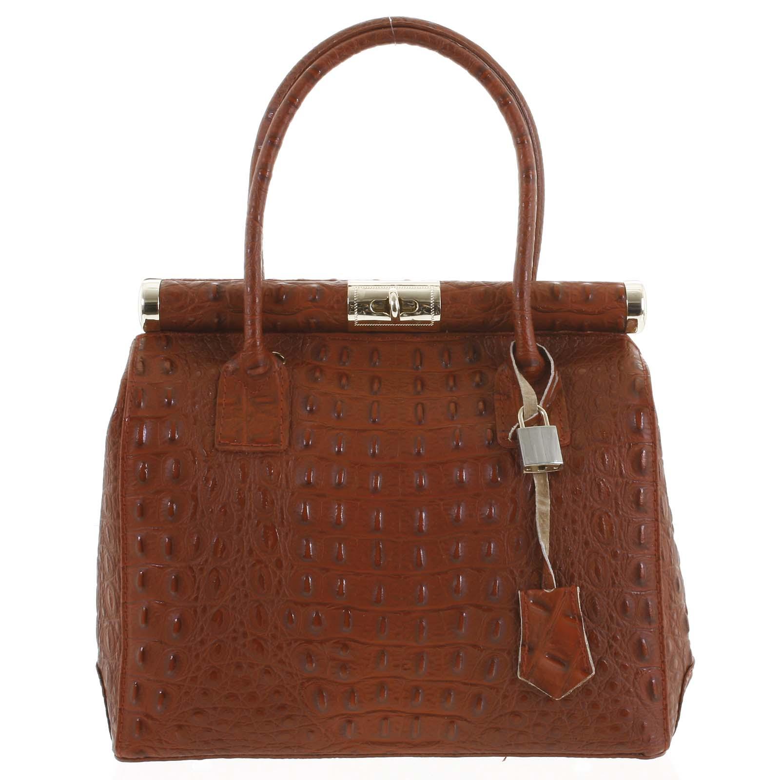 Luxusní dámská kožená kabelka do ruky tmavě červená - ItalY Hyla Kroko