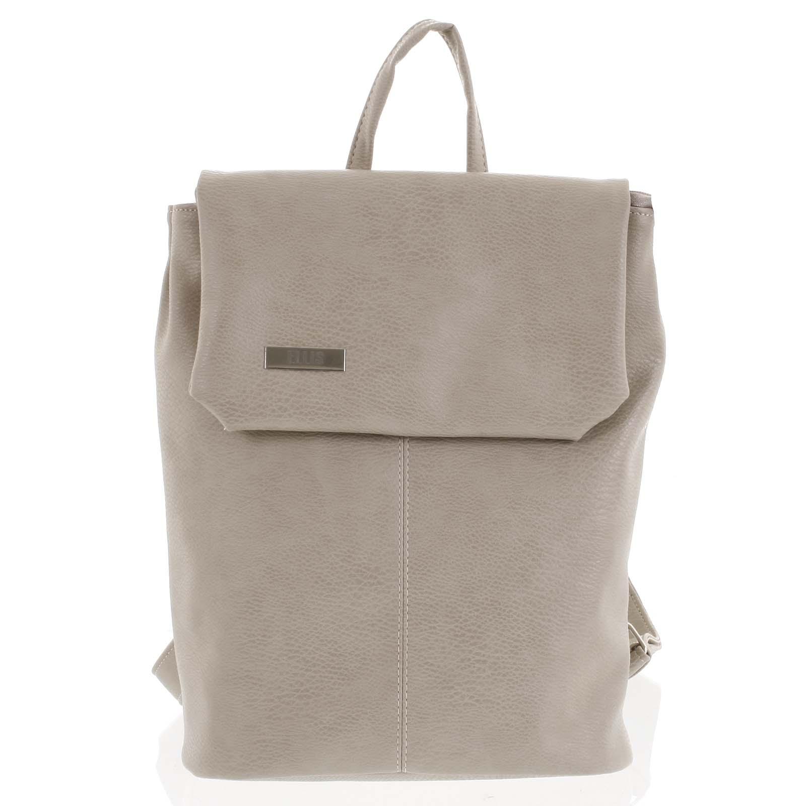 Větší měkký dámský moderní tmavě béžový batoh - Ellis Elizabeth JR