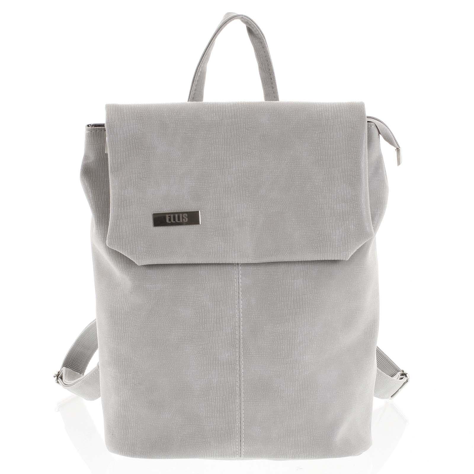 Větší měkký dámský moderní světle šedý batoh - Ellis Elizabeth