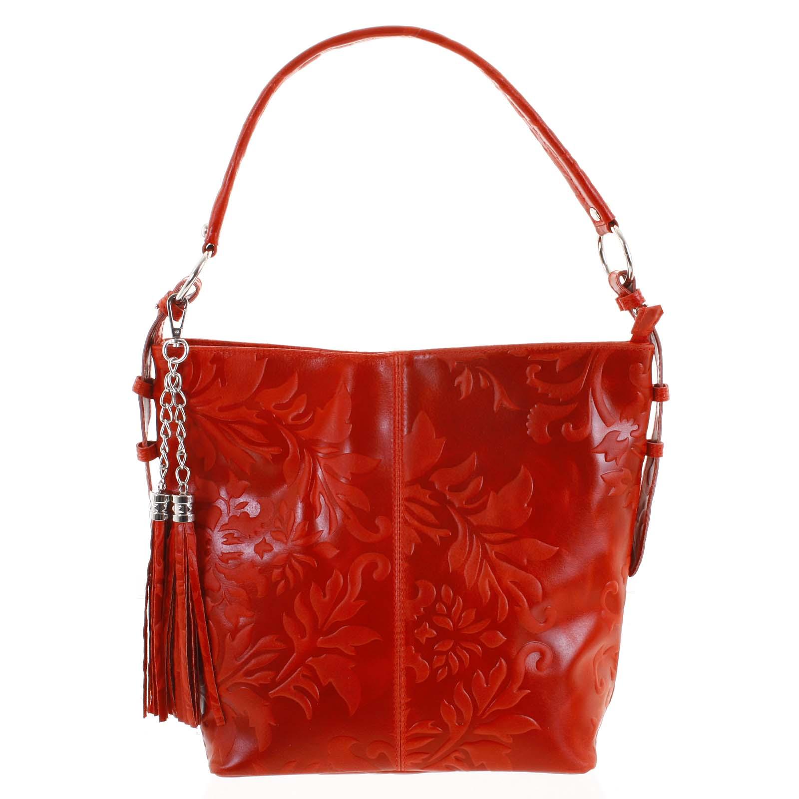 Dámská kožená kabelka přes rameno červená - ItalY Heather