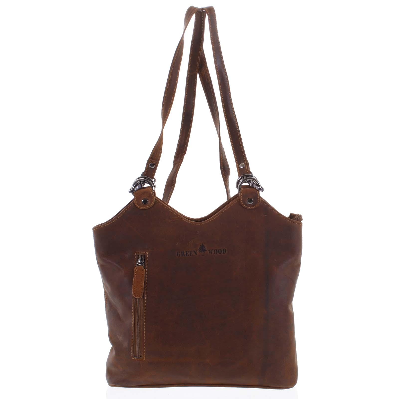 Dámská kožená kabelka batoh hnědá - Greenwood Ambision