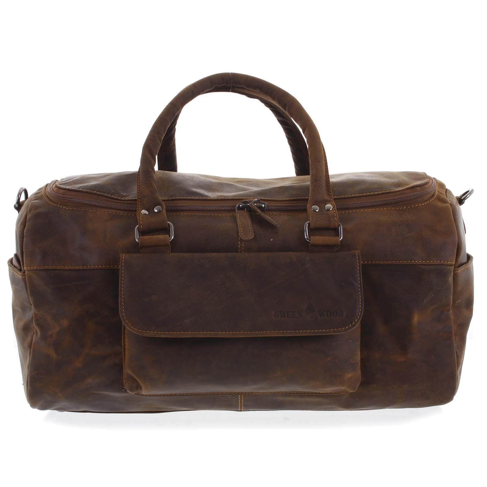 Kožená cestovní taška hnědá - Greenwood Moper