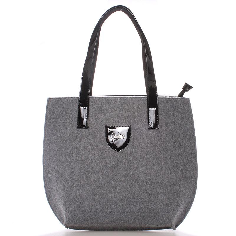 Velká filcová kabelka šedá - Carine Tracie