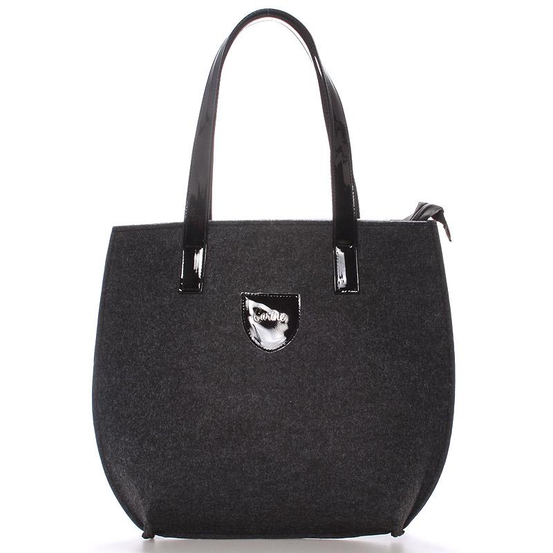 Velká filcová kabelka černá - Carine Tracie