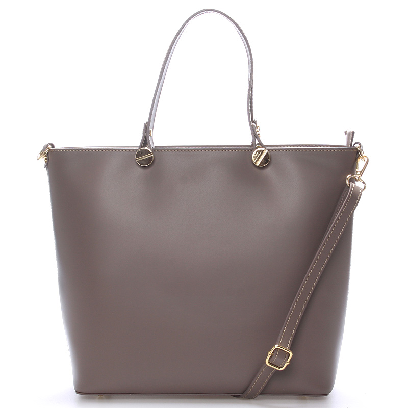 Luxusní kožená kabelka taupe - ItalY Elza