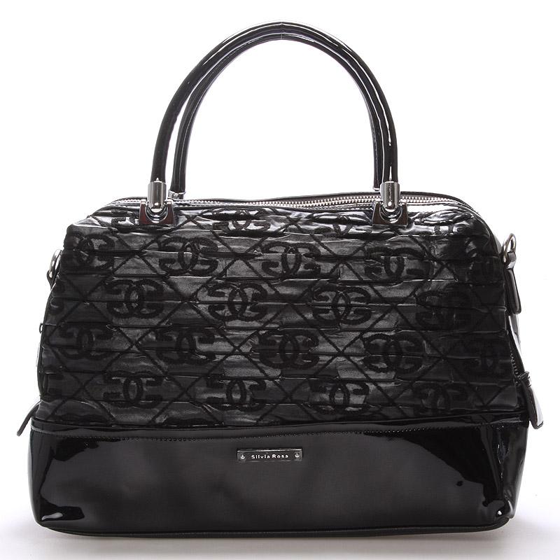 Střední kabelka černá s texturou - Silvia Rosa Dory