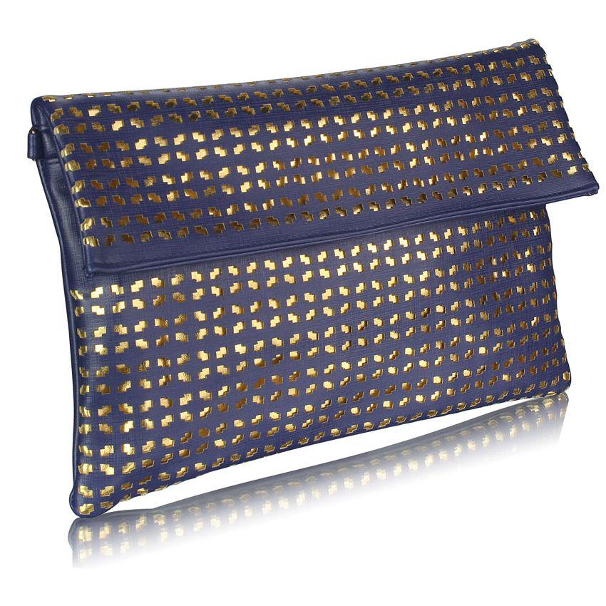 Modré listové psaníčko perforované LS Fashion Soleil