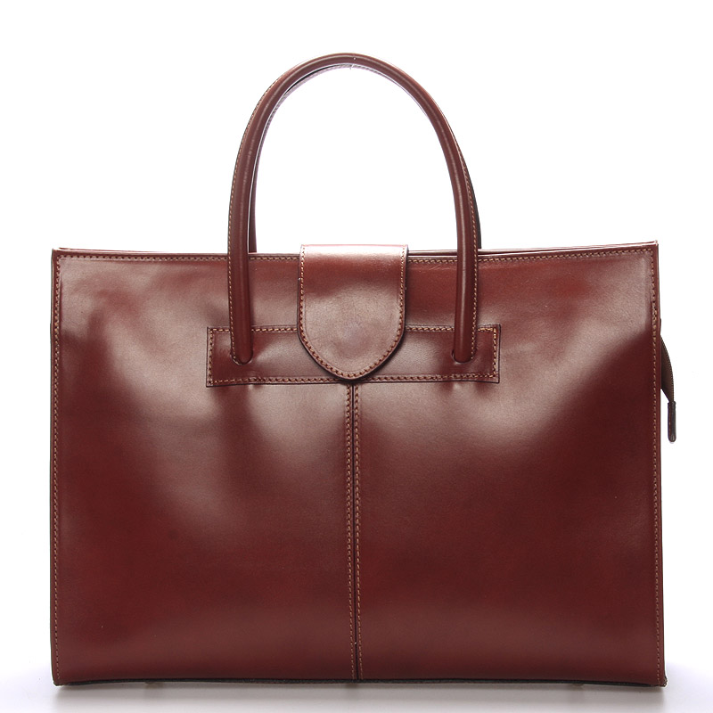 Luxusní hnědá aktovka kabelka Italy Gabriela