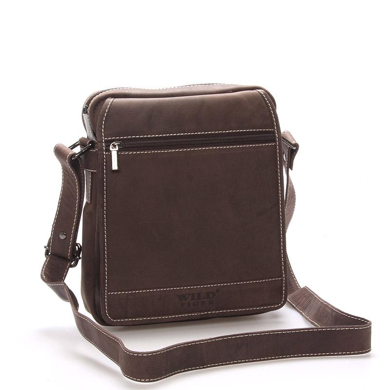 Pánská kožená taška hnědá - Wild Garlen