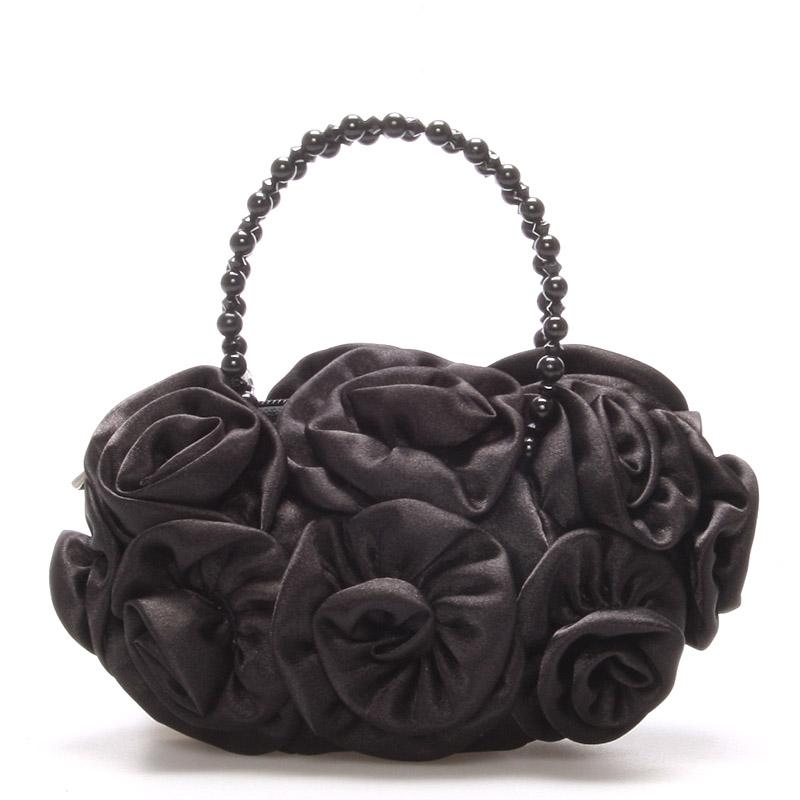 Saténová večerní kabelka černá