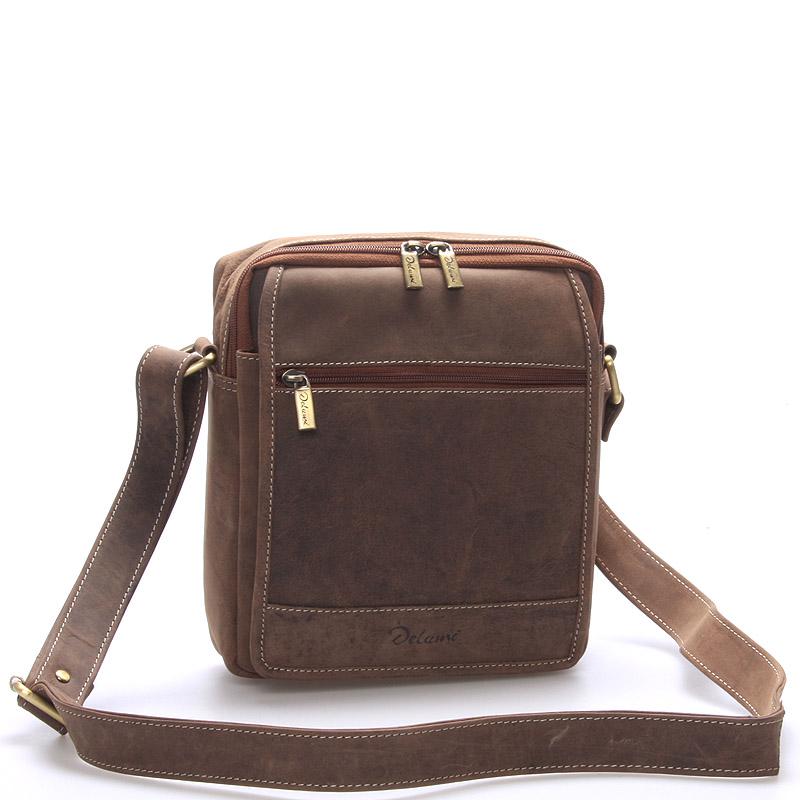 Pánská kožená taška hnědá - Delami Tobias