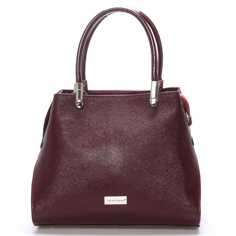 Dámská luxusní kabelka vínová saffiano - Delami Laura Biaggi