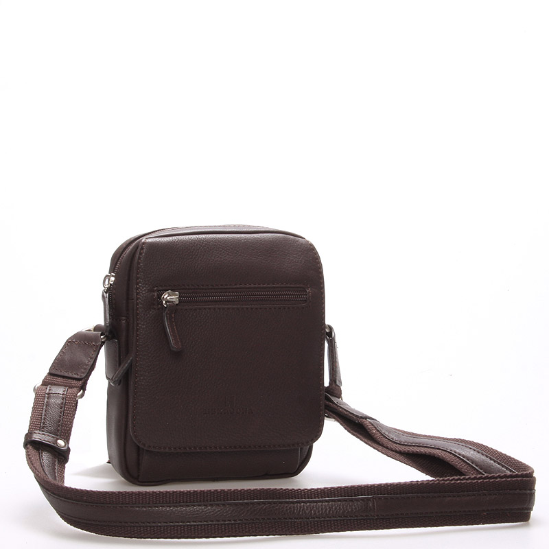 Luxusní pánská kožená taška přes rameno hnědá - Hexagona Eriq