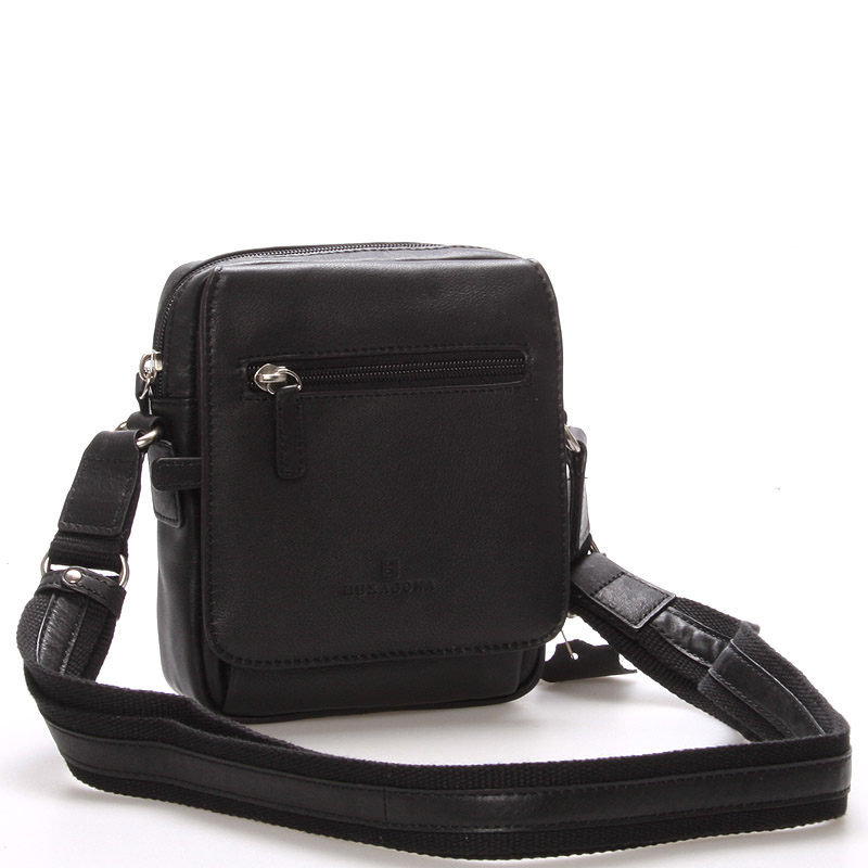 Luxusní pánská kožená taška přes rameno černá - Hexagona Eriq
