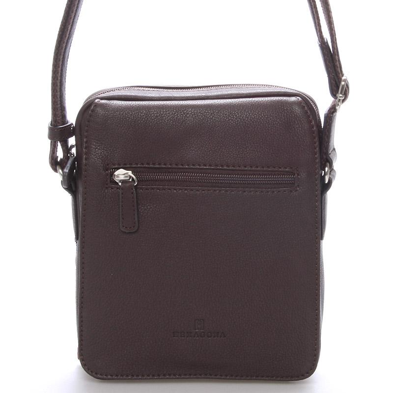 Luxusní pánská kožená taška přes rameno hnědá - Hexagona Geron