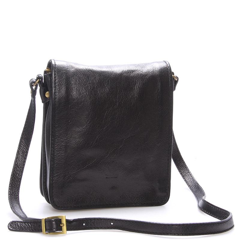 Luxusní černá kožená taška přes rameno ItalY Alonzo