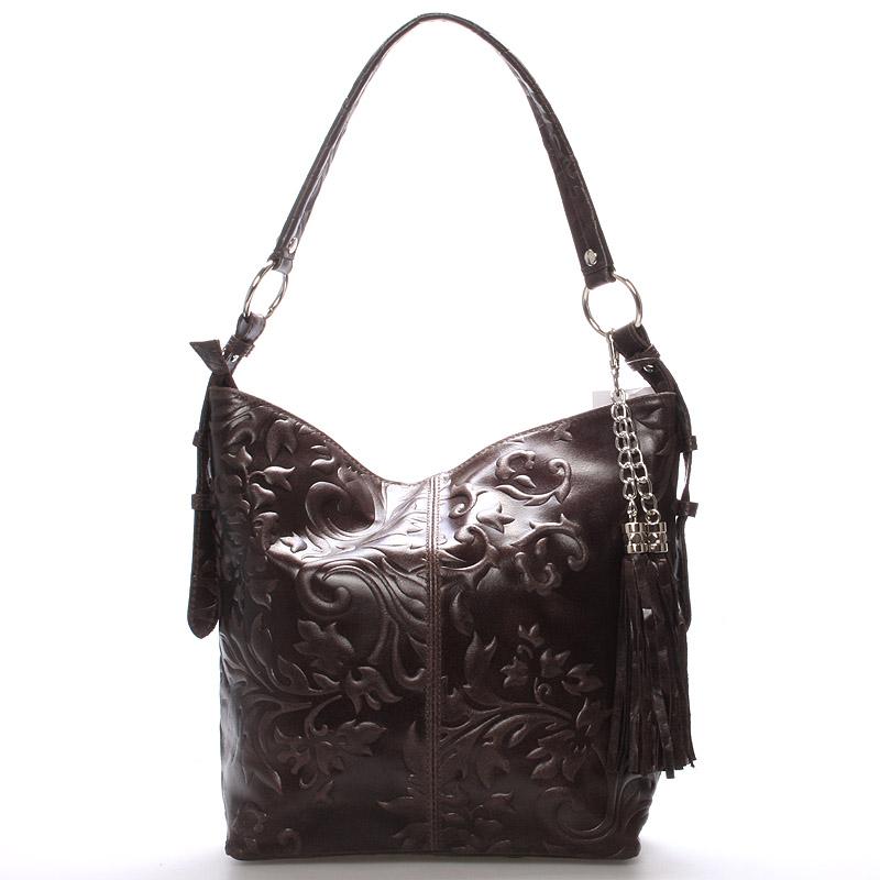 Dámská kožená kabelka přes rameno tmavě hnědá - ItalY Heather