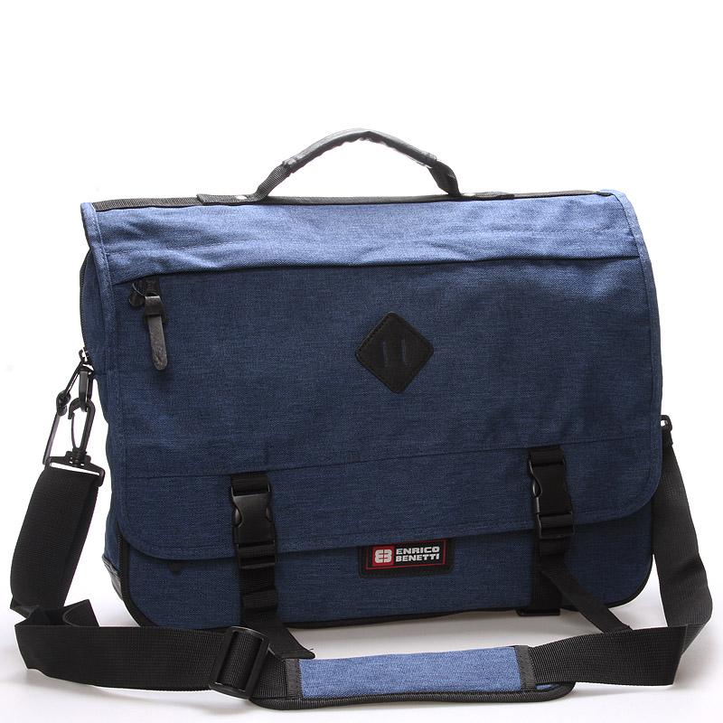 Látková pánská taška přes rameno modrá - Enrico Benetti 4548