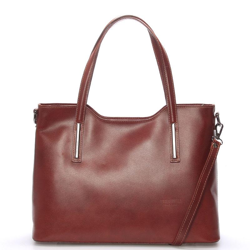 Větší kožená kabelka hnědá - ItalY Sandy