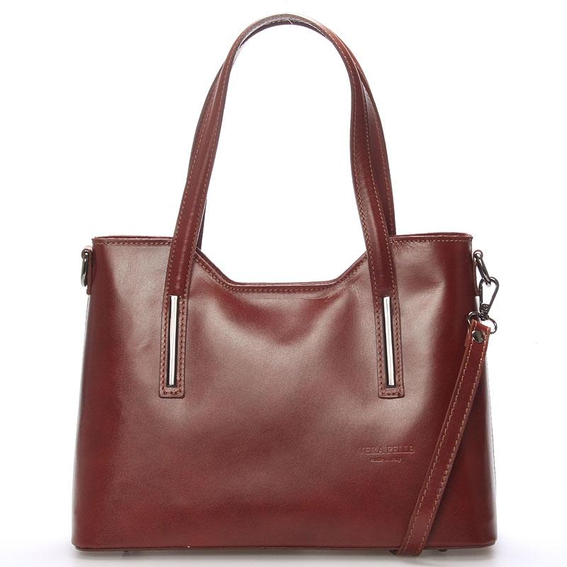 Střední kožená kabelka hnědá - ItalY Chevell