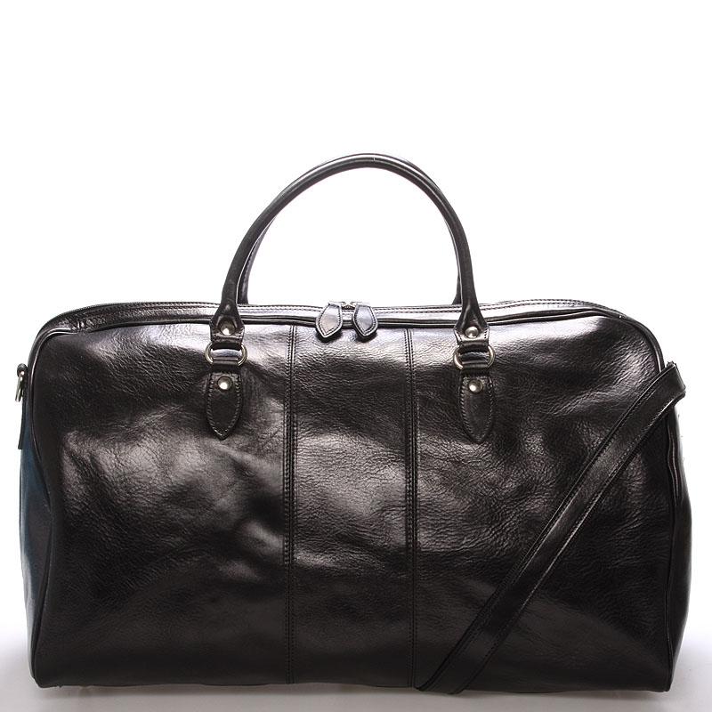 Velká cestovní kožená taška černá ItalY - Ella