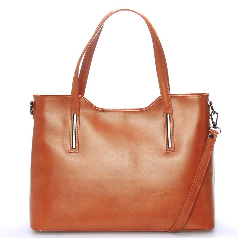 Větší kožená kabelka světle hnědá - ItalY Sandy