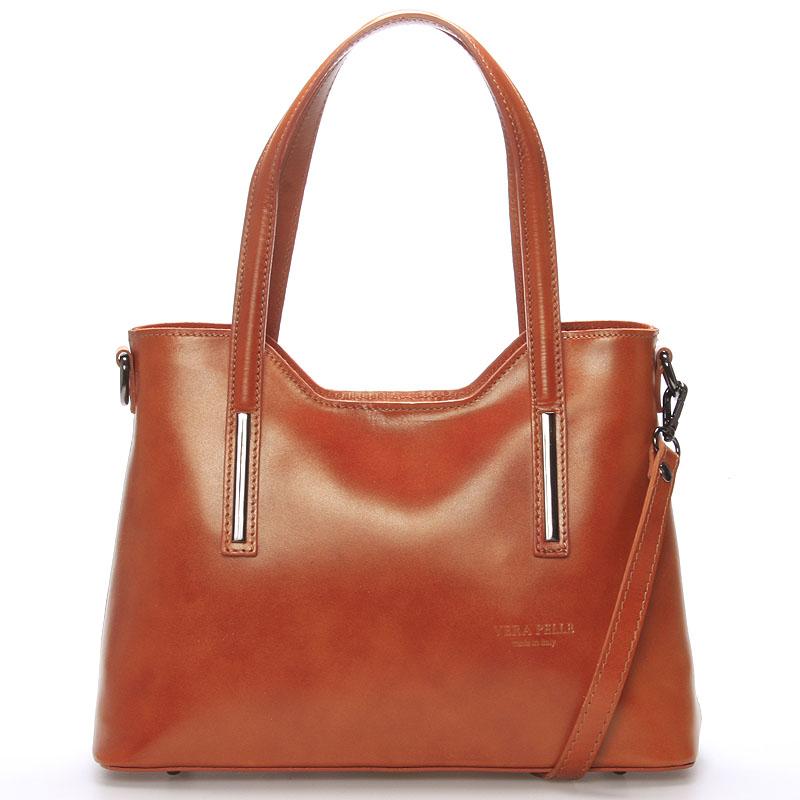 Střední kožená kabelka světle hnědá - ItalY Chevell