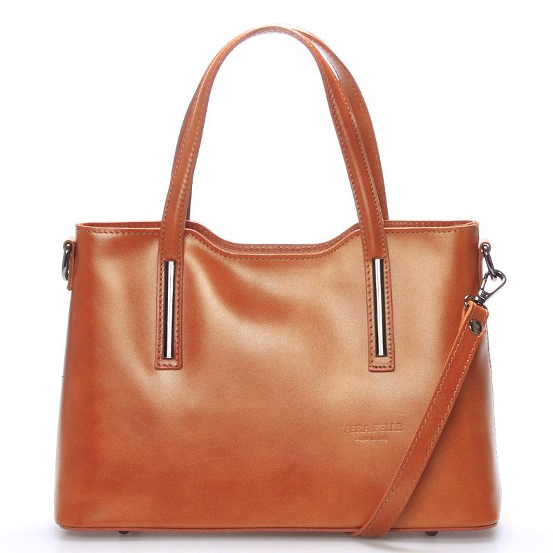 Menší kožená kabelka světle hnědá - ItalY Alex