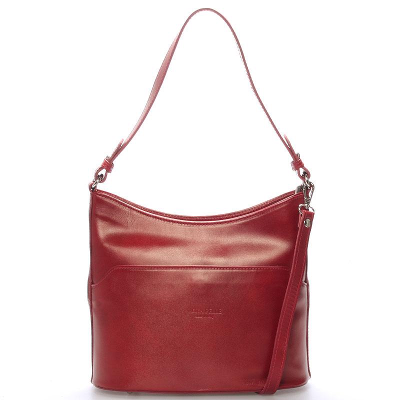 Červená kožená kabelka přes rameno ItalY Lydia