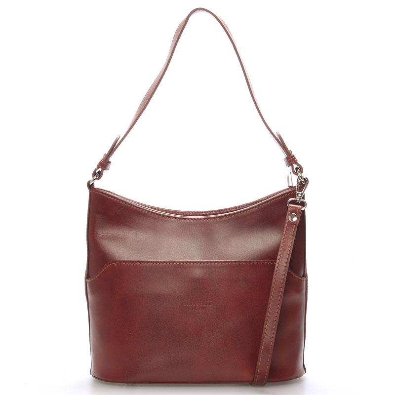 Hnědá kožená kabelka přes rameno ItalY Lydia