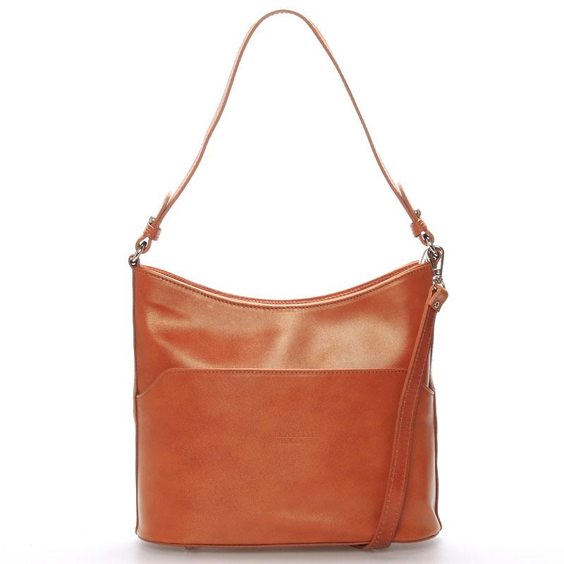 Světle hnědá kožená kabelka přes rameno ItalY Lydia