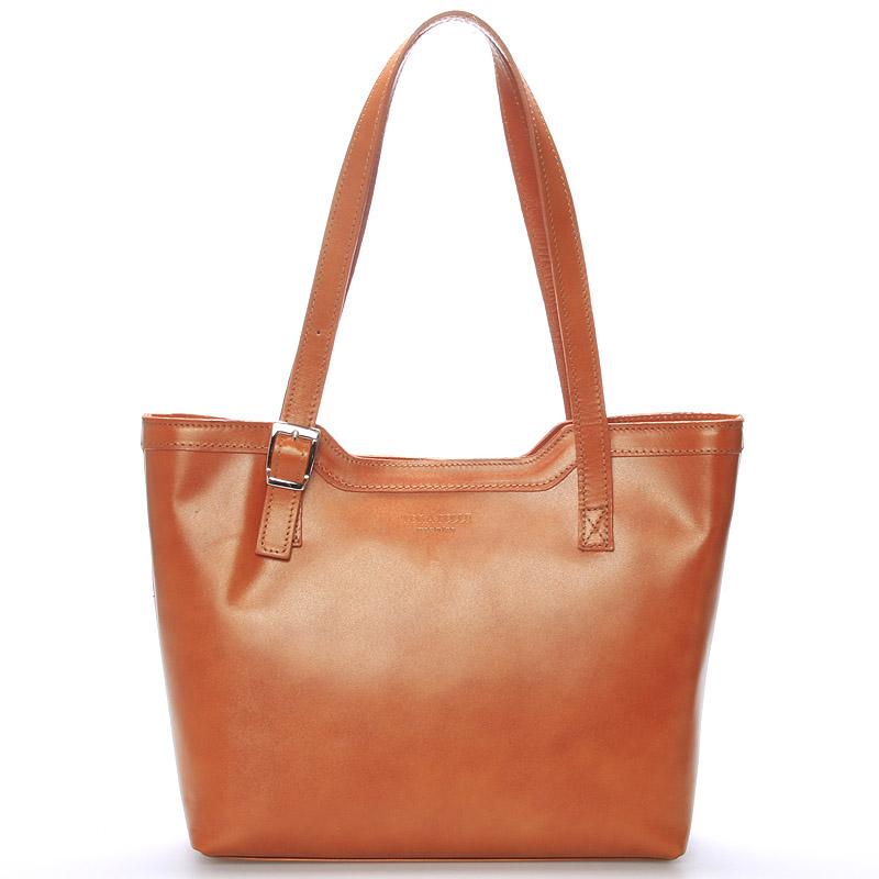 Světle hnědá elegantní kožená kabelka ItalY Melisa