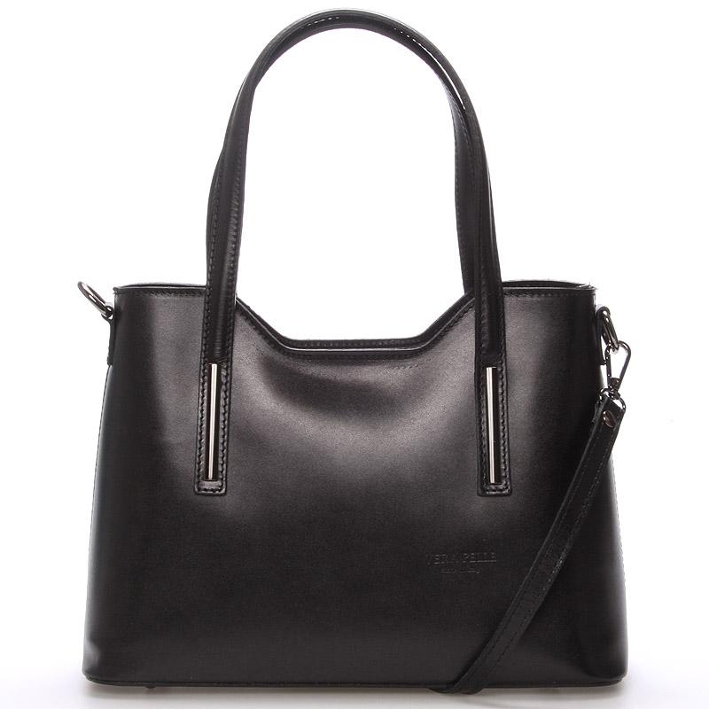 Střední kožená kabelka černá - ItalY Chevell