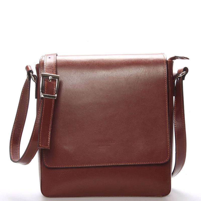 Pánská luxusní kožená taška přes rameno hnědá - ItalY Crosby