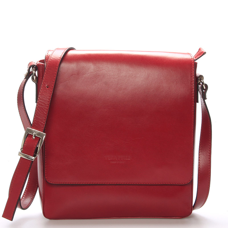 Luxusní kožená taška přes rameno červená - ItalY Crosby