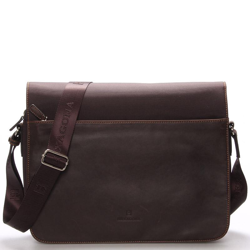 Pánská kožená taška hnědá - Hexagona Tavin 9f9f241938d