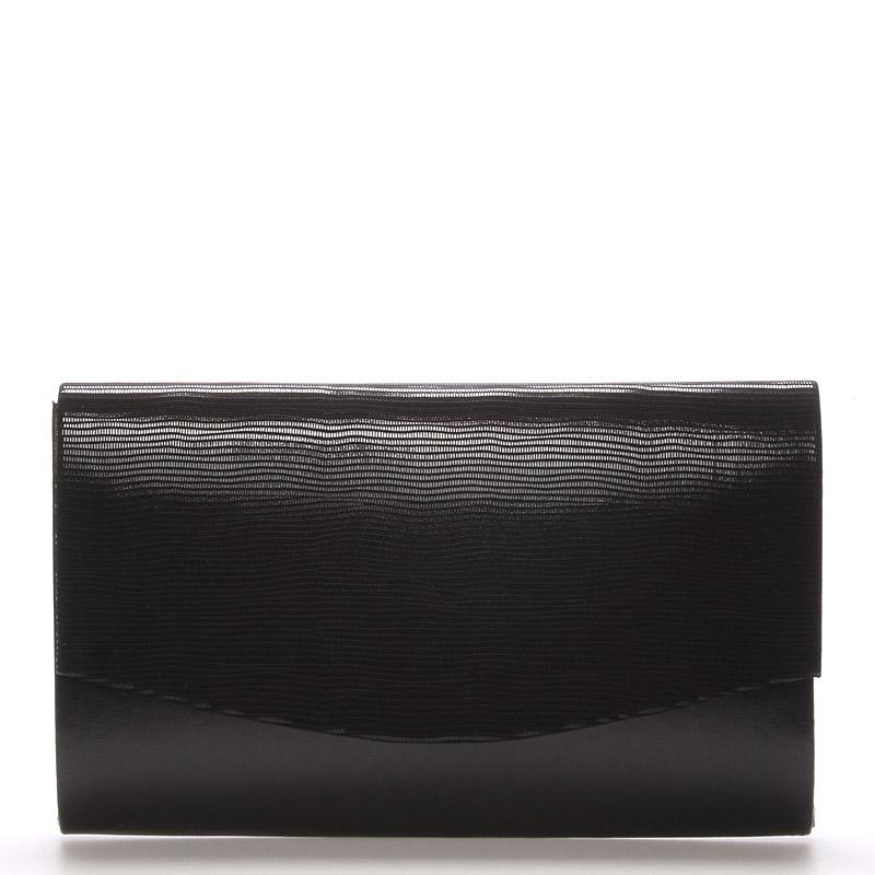 Luxusní černé psaníčko s lakovanou klopou - Royal Style Madison