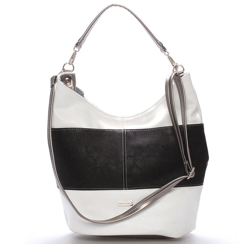 Elegantní bílo černá dámská kabelka přes rameno - Delami Shakira