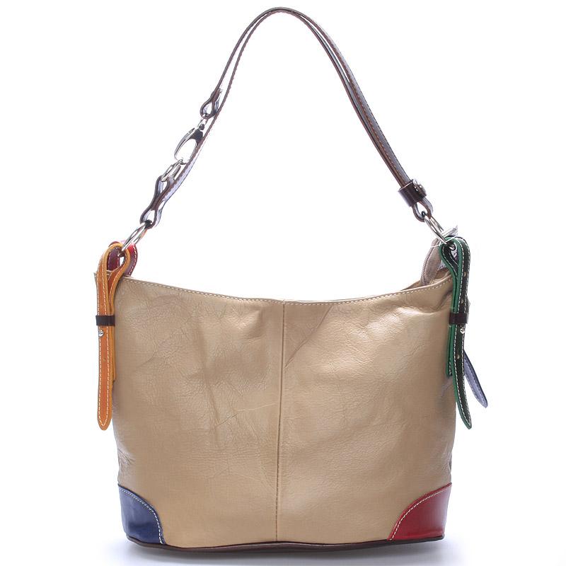 Béžová kožená kabelka přes rameno crossbody ItalY Harmony