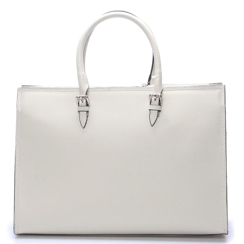 Elegantní dámská kožená kabelka krémová - ItalY Rohais