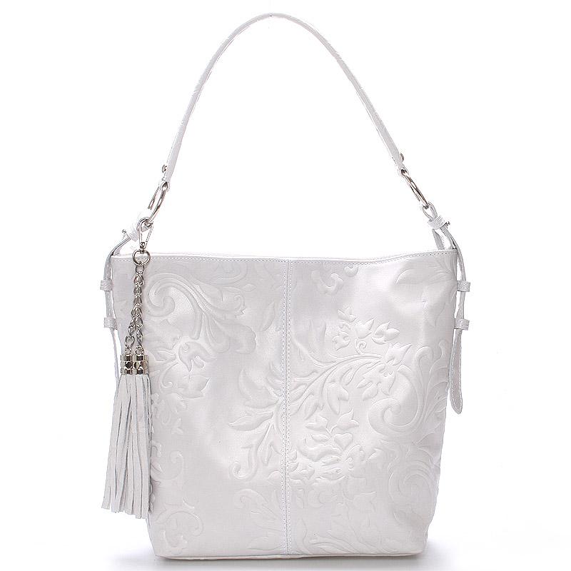 Dámská kožená kabelka přes rameno světle šedá - ItalY Heather