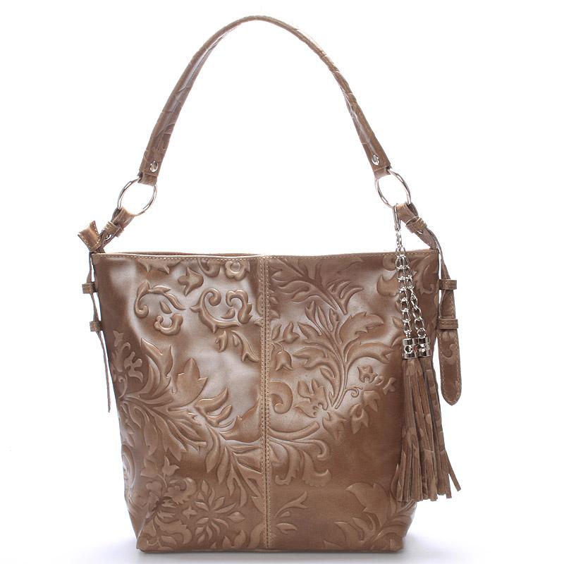 Dámská kožená kabelka přes rameno taupe - ItalY Heather